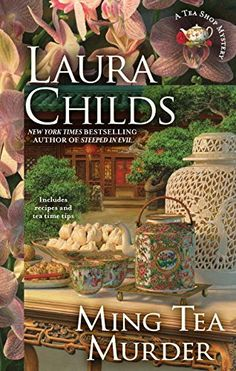 Ming Tea Murder (Tea Shop Mysteries) by Laura Childs http://www.amazon.com/dp/0425281647/ref=cm_sw_r_pi_dp_9iQavb0CZN5D9