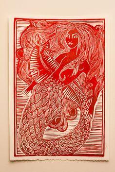 Mermaid linocut print laurak murdoch