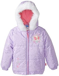 Disney Girls' Frozen Jacket: Frozen jacket with silver lurex embroidery, rhinestones, patches, pleather quilting at sleeve and tinsel faux fur hood. Toddler Girl Outfits, Kids Outfits, Spring Jackets, Winter Jackets, Little Girls Jackets, Frozen Outfits, Girls Bows, Cute Baby Clothes, Disney Girls