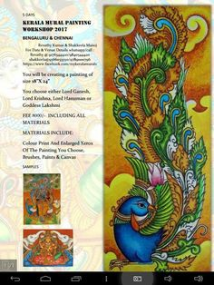 Painting Classes, Painting Workshop, Mural Art, Murals, Kerala Mural Painting, Neli Quilling, Peacock Painting, Madhubani Art, Indian Folk Art