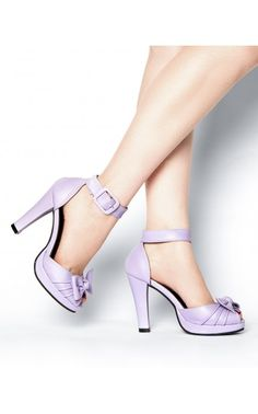 """Knotted Ankle Strap Heel in Lilac These classic retro style pumps have an adjustable ankle strap is cute for Bride or Bride-maid! A chunky 3.75"""" heel and .75"""" platform make these super comfy. They're also made with vegan friendly manmade materials. See more at: http://www.pinupgirlclothing.com/knot-heel-lilac.html#sthash.CvNSODUT.dpuf"""