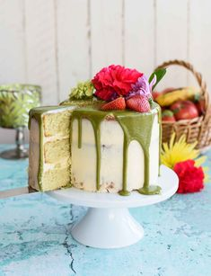 Matcha Cake with Buttercream Frosting and White Chocolate Matcha Drip