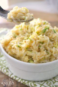 One Pot Cheesy Zucchini Rice - Cheesy Goodness - FamilyFreshMeals.com