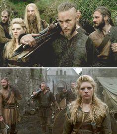 Vikings (series 2013 - ) Starring: Gustaf Skarsgård as Floki, Katheryn Winnick as Lagertha, Ragnar's wife; Travis Fimmel as Ragnar Lothbrok, Clive Standen as Rollo, Ragnar's brother.