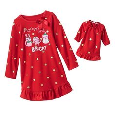 Jumping Beans Ruffle Girl Cat Red Nightgown Pajama Dress American 18 in Doll Set #JumpingBeans #Nightgown