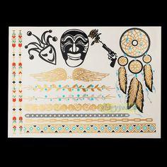 1PC Flash Metallic Waterproof Temporary Tattoo Gold Silver Men Women Henna GH 15 Wing Mask Dreamcatcher Design Tattoo Sticker-in Temporary Tattoos from Health & Beauty on Aliexpress.com | Alibaba Group