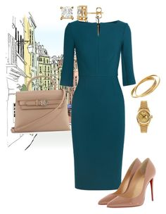"""""""Work"""" by cgraham1 on Polyvore featuring Roland Mouret, Christian Louboutin, Alexander Wang, Rolex and Cartier"""