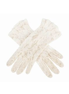 6-2242 Ivory Women's delicate lace gloves with ruffled cuffs for added detail.  Composition: 100% Nylon  Lining: Unlined  Button Length: 4 B/L – These gloves extend approximately 3 inches (7.6cm) above the wrist.