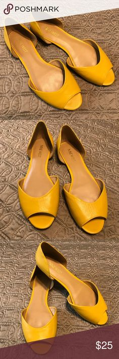 Nine West Leather D'orsay Sandals Gorgeous genuine leather mustard yellow d'orsay peep toe sandals. Cute retro look. Run a little big in my opinion, would fit a size 8. Great condition, only worn twice. ❌No trades Nine West Shoes