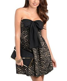 Take a look at this Black & Sand Bow Zebra Strapless Dress by Buy in America on #zulily today!