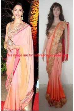 Designer Georgette Pink Bollywood Saree