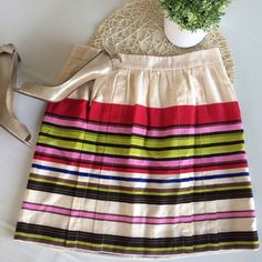 """LOFT Colorful Stripe Skirt Summer linen skirt with colorful stripes of red, green, pink, black, blue and more. Side zip closure, fully lined, Sz 4 petite, 18"""" long. EUC. Offers considered. ❌no offsite transactions LOFT Skirts"""
