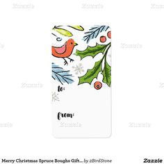 Merry Christmas Spruce Boughs Gift Tag Address Label