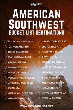 Top 10 Destinations In The American Southwest That Will Blow Your Freaking Mind American Southwest Bucket List. This includes areas like Utah, Arizona, Colorado, Southern California, Nevada and more. Travel List, Travel Guides, Usa Travel, Travel Checklist, Travel News, Paris Travel, Travel Hacks, Travel Packing, Travel Backpack