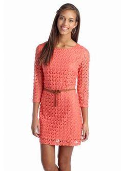 Red Camel  Belted Crochet Sheath Dress