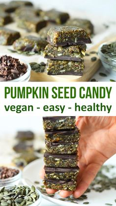 Easy and healthy vegan candy Healthy candy full of goodness that's made from just pumpkin seeds, fruit and cacao. Tastes amazing and a great source of plant protein, fibre and vitamins. Perfect healthy snack to keep you full and energised. Healthy Candy, Healthy Vegan Desserts, Vegan Treats, Vegan Foods, Healthy Snacks, Healthy Pumpkin, Vegan Snacks On The Go, Dry Snacks, Raw Desserts