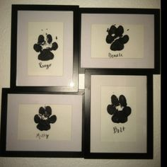 For the four leggeds in your life. Paw prints framed in black frames. Name of pet written under the paw print. One for each of my pets! Do It Yourself Inspiration, Dog Rooms, Crafty Craft, Crafting, I Love Dogs, Fur Babies, Craft Projects, Diy Crafts, Paw Prints