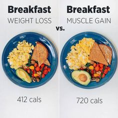 Weight loss vs. Muscle gain meal ideas! *Swipe to see lunch, dinner & snack idea...
