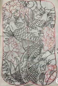 Koi Tattoo Design, Tattoo Designs, Warrior Tattoo Sleeve, Black Dragon Tattoo, Japanese Koi Fish Tattoo, Full Back Tattoos, Oriental Tattoo, Tattoo Studio, Fish Tattoos