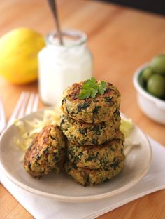 Greeky Style Quinoa Patties with Tzatziki Sauce which has fresh mint & dill. (I will sub out for egg whites in pattie recipe...)