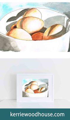 whimsical print | kitchen art | fruit print | watercolour | eggs | blue print | wall art