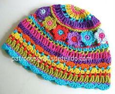 Cómo tejer un gorro multicolor al crochet / paso a paso   Crochet y Dos agujas