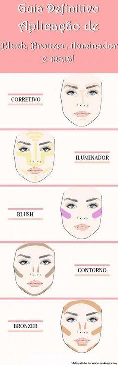 Guia definitivo para aplicação de blush, iluminador, contorno, corretivo e bronzer! #maquiagem #maquiagens #produtosparamaquiagem #makeup #maquilaje #productosparamaquilaje
