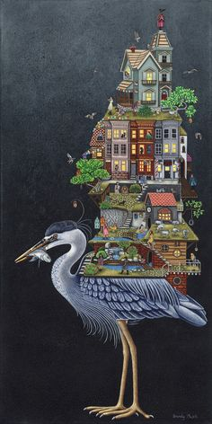 Brandy Masch Blue Heron, Mixed Media on Canvas, 48 x 24 in. We warmly welcome Brandy Masch to our roster of artists as she starts us off with a stunning new painting. Blue Heron, Mixed Media Canvas, Children's Book Illustration, Folk Art, City Photo, Contemporary Art, Art Gallery, Bird, Drawings