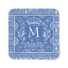 #monogrammed - #Elegant Royal Renaissance Monogram with Crown Square Sticker