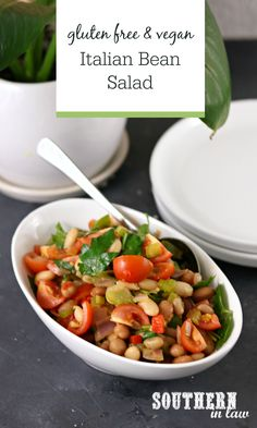 Easy Gluten Free Italian Bean Salad Recipe - The easiest salad recipe, this impressive side dish is perfect for sharing with friends. Enjoyed warm or cold, this salad includes three bean mix (or whatever beans you have on hand), celery, garlic, onion, chilli, bell pepper/capsicum, tomatoes, parsley and more. Simple, easy, healthy and SO delicious! Gluten free, vegan, nut free, clean eating friendly and grain free. Italian Beans, Appetizer Salads, Appetizers, Vegan Recipes, Cooking Recipes, Bean Salad Recipes, Healthy Side Dishes, Easy Salads, Nut Free