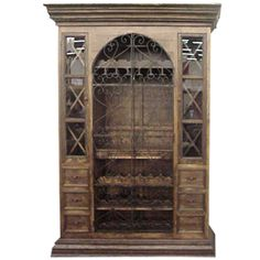 Old World Dining Room Furniture Tall Iron Door Cabinet Hand