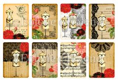 Dress Forms and Lace Aceo / ATC Cards Digital Collage by Eolene