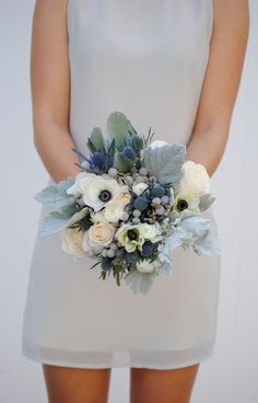 DIY Wedding Flower Package, Anemones, Blue Wedding, Dusty Miller, Ranunculus, Bridal Bouquet Navy, Grey Wedding