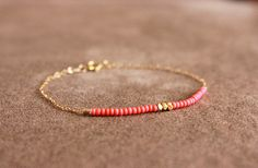 bright coral red - lucky wish bracelet
