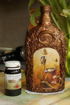 Декоративная бутылка в технике «Терра»