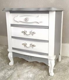 SOLD Gray & white nightstand, shabby chic bedside table, French provincial end table, cottage chic night stand, small vintage 2 drawer chest Shabby Chic Nightstand, White Nightstand, Shabby Chic Furniture, Vintage Furniture, Eclectic Furniture, Refurbished Furniture, Repurposed Furniture, Furniture Makeover, Painted Furniture