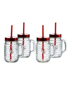 This Rooster Mason Jar Handle Mug with Lid and Straw - Set of Four is perfect! #zulilyfinds