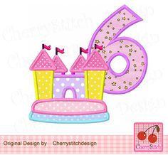 Bounce house with number 6,Bounce house digital applique -for 4x4 5x7 6x10 hoop-Machine Embroidery Applique Design by CherryStitchDesign on Etsy