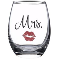 Lillian Rose Mrs. Bride Wedding Red Lips Stemless Wine Glass ($7.75) ❤ liked on Polyvore featuring home, kitchen & dining, drinkware, red wine glass, stemless wineglasses, red wine glasses, bride wine glass and stemless wine glasses