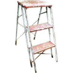 Adorable vintage industrial shabby chic rustic wooden and metal folding step ladder. A wonderful architectural prop for a vintage garden or for a wedding. www.rubylane.com #vintagebeginshere