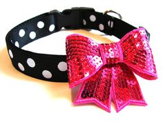 Bow Dog Collar 1 Black and White Polka Dot Dog Collar by Dogologie, $20.00