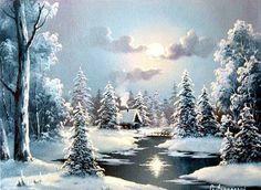 Gallery.ru / Фото #1 - Зимние домики. Часть2 - Anneta2012 Winter Landscape, Landscape Art, Landscape Paintings, Christmas Drawing, Christmas Paintings, Pictures To Paint, Art Pictures, Photos, Winter Pictures