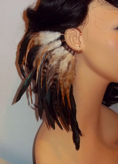 Feather Ear Cuff : interesting way to hold hair back??