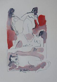 Akte Orig Zeichnung Akademie Duesseldorf zur Beuys Zeit Düsseldorf Tusche
