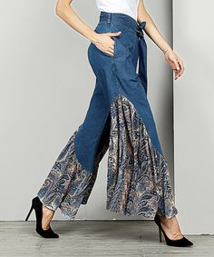 Take a look at this Indigo Chambray Contrast High-Waist Ruffle Palazzo Pants - Plus today!