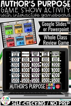 No prep, self checking author's purpose game show is so much fun for review days and test prep!  This game show can be played on Google Slides, PowerPoint Rounding Activities, Fun Math Games, Vocabulary Games, Class Games, Math Class, Decimal Games, Math Websites, Fraction Games, Festivals