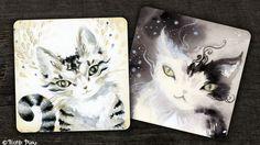 """Nicole Piar tvoří podobné malůvky koček už delší dobu, až nyní ale vydala speciální knížku """"Spirit Cats Inspirational Card Deck""""."""