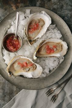 Oysters with Grapefruit and Meyer Lemon Mignonette