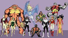 Alpha Flight (illustrated by John Byrne; Marvel Comics).