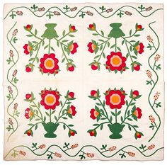 Floral Appliqué Quilt  : Lot 366.  American, ca 1870. 85 x 78.25 in., Cowan's Auctions, Live Auctioneers